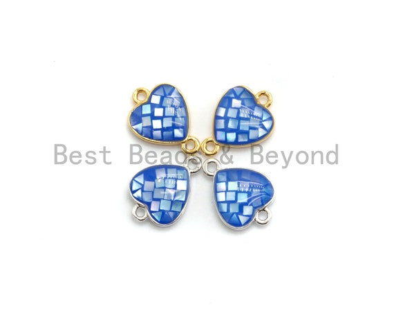 100% Natural Shell Blue Heart Shape Connector with Gold/Silver Plated Edging, blue shell Beads, 10x14mm,SKU#Z273