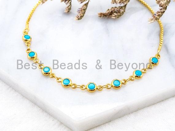 Gold Silver Black Turquoise Bangle Bracelet, Adjustable Bracelet, 4mm Evil Eye bracelet, thin link bracelet, Wedding Brial Bracelet SKU#A52