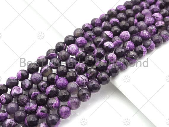 "Natural Purple Fire Agate Round Faceted Beads, 8mm/10mm/12mm Purple Black Fire Agate, Natural Agate, 15.5"" Full Strand, Sku#U1075"