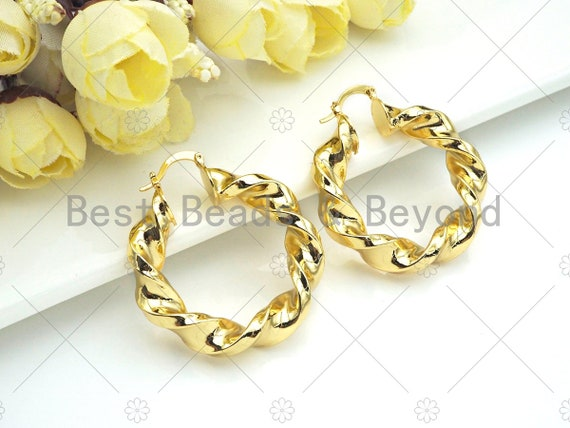 Gold Twisted Hoop Earrings, Bold Gold Hoop Earrings, Chunky Earrings, Statement Hoops, Hoops Earring gift for her, 38mm, sku#J297