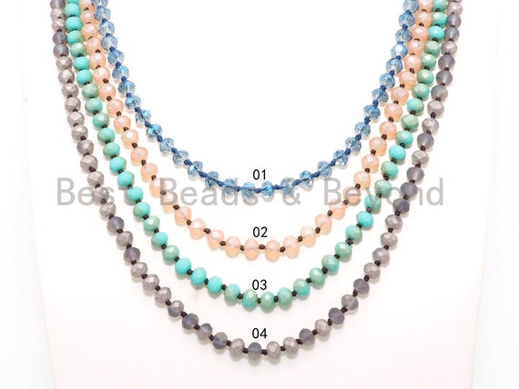 "NEW COLORS 60"" Extra Long Hand Knotted Crystal Necklace, Dual Color Double Wrap Necklace, 5x8mm Rondelle Crystal Beads, SKU#D32"