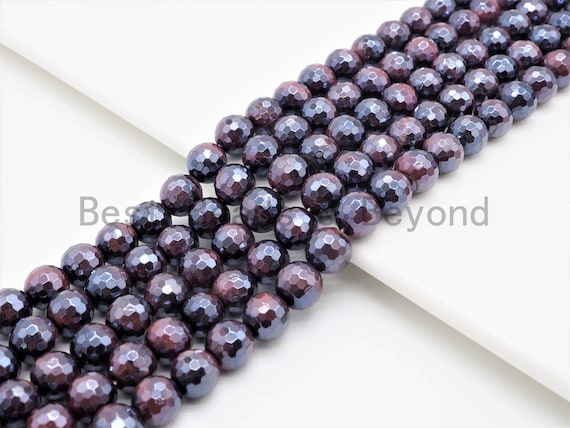 High Quality Mystic Plated Faceted Red Brown Tiger Eye Beads, 6mm/8mm/10mm/12mm/14mm Tiger Eye Gemstone Beads, 15inch Full strand, SKU#U410