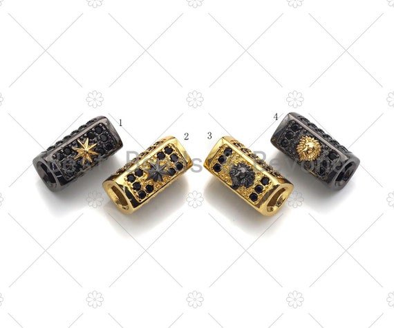 Star/Lion Head Bead,Tube Spacer Bead, Black CZ Pave Tube Spacer Beads for Men/Women Jewelry Making, 7x14mm, ML19