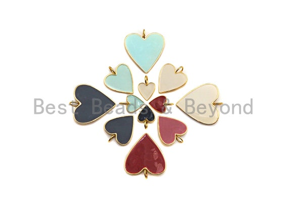 Black White Red Blue Enamel Heart Pendant with Gold Finish, Enamel Heart, Colorful Enamel Heart, 15/25/35mm, sku#FH30