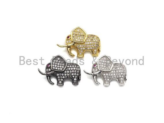 CZ Micro Pave Elephant Spacer Beads, Cubic Zirconia Beads, Bracelet Charms, 17x25mm, SKU#Z1053