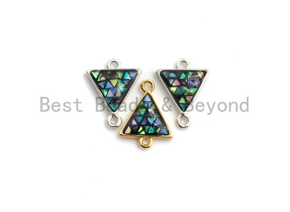 100% Natural Abalone Shell Triangle Connector, Abalone Shell Charm, Shell Connector for Earrings Bracelets Necklace Making, 11x14mm,SKU#Z271