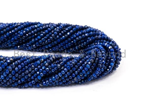 """Top Quality Faceted Natural Lapis Rondelle Beads,2x3mm Gemstones Beads, Tiny Lapis Beads,15.5"""" Full Strand,SKU#U102"""
