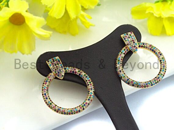 PRE-SELLING Clorful CZ Micro Pave Stud Earring, Round Ring Shape Earrings, micro pave earrings, Big Hoop Earrings, 32x26mm,sku#J131