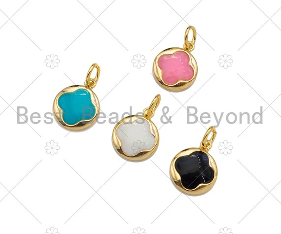 Gold Filled Colorful Clover On Round Shape Pendant, 14K Gold Filled White/Black/Pink/Blue Charm, Necklace Bracelet Charm, 10x12mm, Sku#CP33
