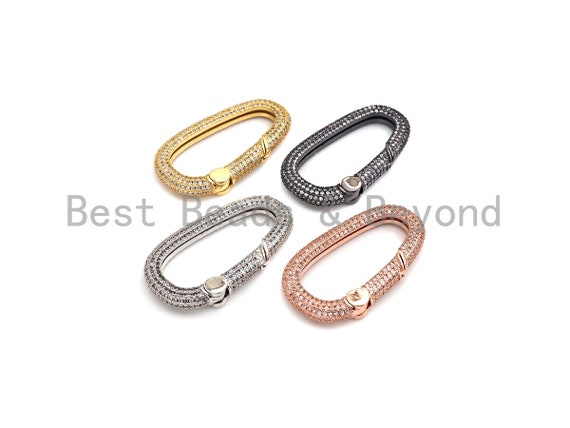 Fully CZ Micro pave Spring Snap Hook Clasp, CZ Pave Carabiner Lock, Gold/Silver/Rose Gold/Gunmetal Carabiner, 22x39mm, sku#H258