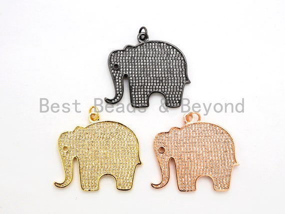 CZ Micro Pave Large Elephant Pendant/Focal,Cubic Zirconia Paved Charm, Necklace Bracelet Charm Pendant, 32x35mm, sku#F520