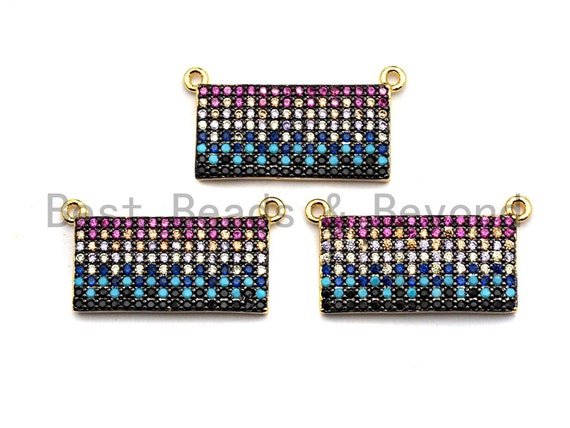 PRE-SELLING CZ Colorful Micro Pave Rectangle Charm Pendant, Rectangle Shaped Pave Pendant, Gold plated, 10x21mm, Sku#F902