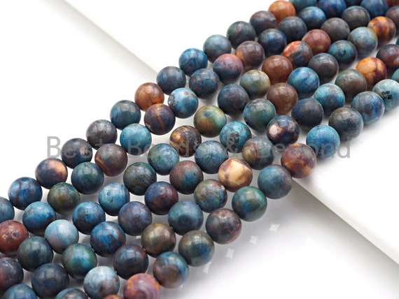 "Natural Blue Brown Agate Beads, 8mm Round Agate Beads, Natural Agate, 15.5"" Full Strand, sku#U863"