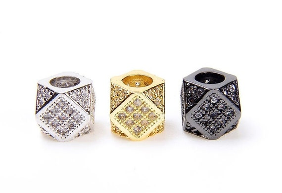 CZ Micro Pave Hexagon Spacer Beads, Big Hole Multi Sided Hex Cubic Beads, Men's Jewerly Findings, 9x7mm,Sku#G119C