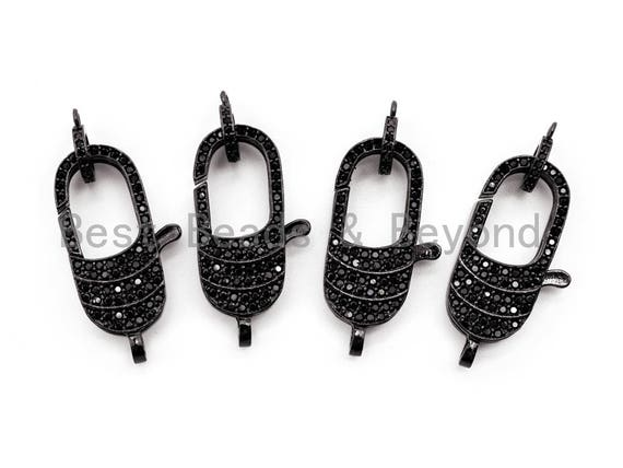 Black CZ Pave On Black Micro Pave Lobster Claw Clasp, Cubic Zirconia Clasp, 11x29mm,sku#H115