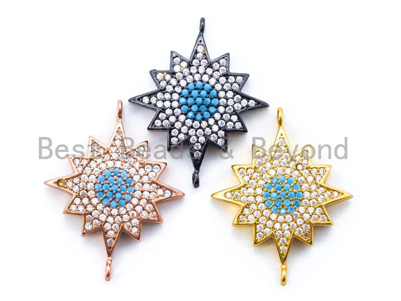 CZ Micro Pave Polar Star/North Star Turquoise Eye Connector, Gold/Rose Gold/Gunmental Tone, 22x27mm,1pc, sku#M173