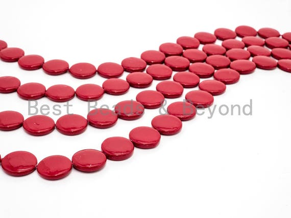 20mm/25mm Natural Mother of Pearl Beads, Red Flat Coin Smooth Gemstone Beads, Red Pearl Shell 15inch full strand, SKU#U187