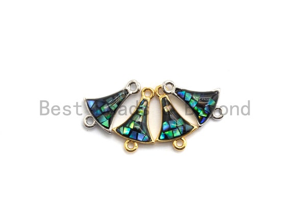 100% Natural Abalone Fan Shaped Small Bell Connector, Gold/Silver Plated Finish, Abalone Shell Charm, Abalone Beads, 10x15mm,SKU#Z263