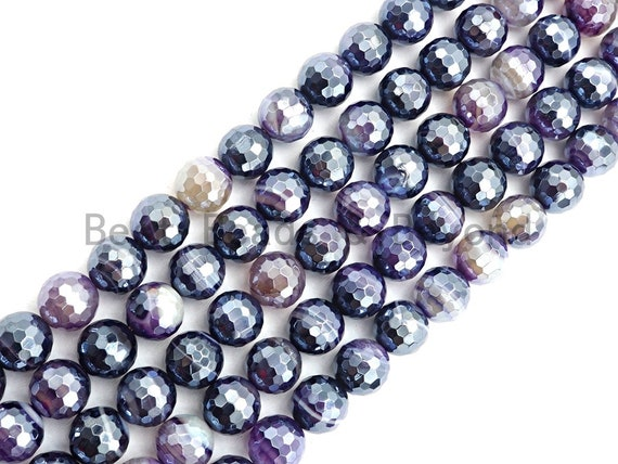"Etsy Exclusive Mystic Plated Faceted Agate Beads,6mm/8mm/10mm/12mm, Plated Purple Agate Beads,15.5"" Full Strand, SKU#U441"