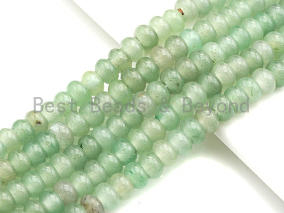 "2mm Large Hole Natural Green Aventurine Beads, Rondelle Smooth 5x8mm, 8"" Long Strands, sku#U718"