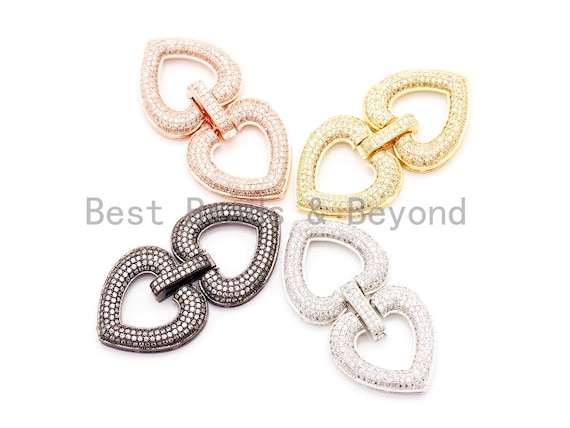 CZ Micro Pave Double Heart Buckle Clasp, Cubic Zirconia  Interlocking Clasp/Connector, 51x24mm, sku#H33