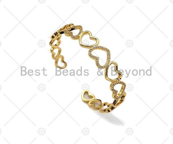 Gold Filled CZ Micro Pave Gold Heart Link Bracelate, 18K Gold Filled Bracelate, Heart Bangle Bracelet, Adjustable Bracelate,59x58mm,Sku#LD85