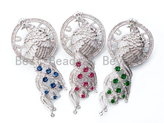 Large CZ Micro Pave CZ Micro Pave Focal Peacock Pendant, Pendant Connector, Jewelry Clasp, Pearl Jewerly Findings, 36x79mm, sku#L162