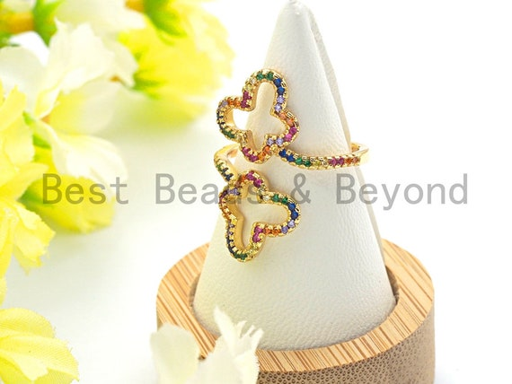 Colorful CZ Micro Pave  Butterfly Flower Wrap Spiral Ring, Cubic Zirconia Gold Ring, Adjustable Ring, 28x21x18mm,sku#X70