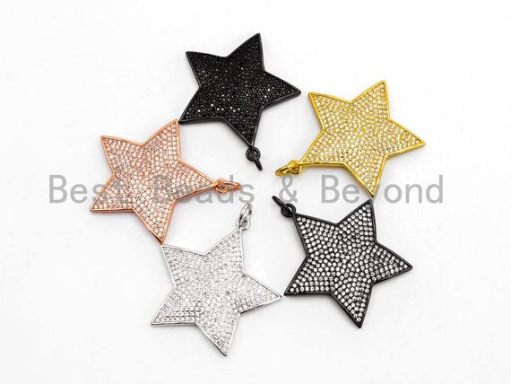 CZ Clear/Black Micro Pave Five Point Star Pendant, Star Shaped Pave Pendant, Gold/Rose Gold/Silver/Gunmetal plated, 32x33mm, Sku#F401/BY010