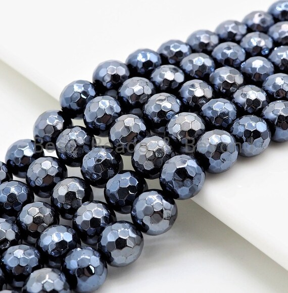 Quality Natural Plated Onyx 6mm/8mm/10mm beads, Round Faceted Onyx  Wholesale Gemstone Beads, 15.5 inch strand, SKU#U283