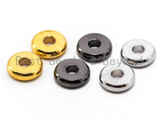 20pcs Rondelle Donuts Space Bead, 6mm/8mm/10mm Brass based, 24K Gold Silver Gunmetal Plated, Smooth finish,High quality,  SKU#C53