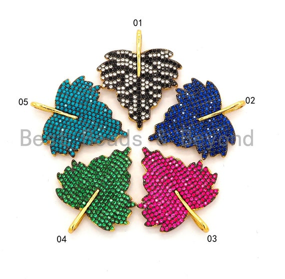 CZ Micro Pave Leaf Pendant/Charm, Cubic Zirconia Turquoise Blue Fuchsia Black Green Leaf Pave Pendant,31x36mm, sku#F508