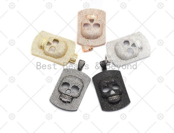 CZ Micro Pave Embossment Skull On Rectangle Shape Pendant,Cubic Zirconia Large Skull Charm, Necklace Bracelet Charm, 50x30mm, Sku#F667