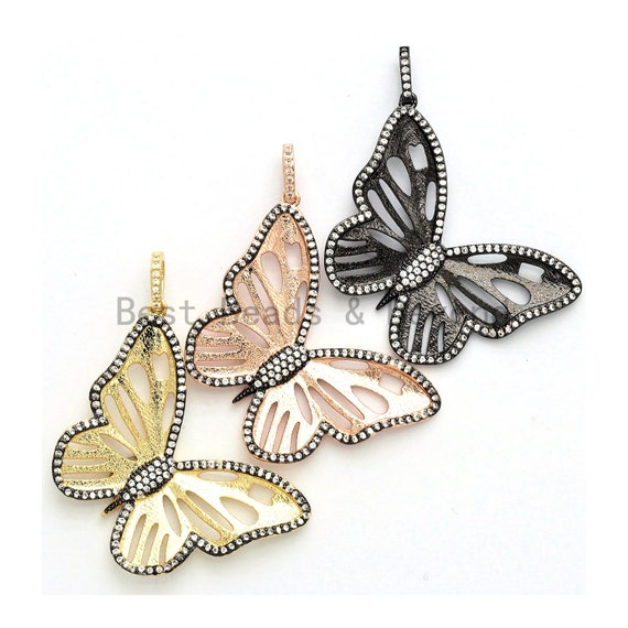 Large CZ Micro Pave Butterfly Pendant/Charm, Sparking CZ Animal Charms Pendant, Butterfly Pendant,29x41mm,sku#F557