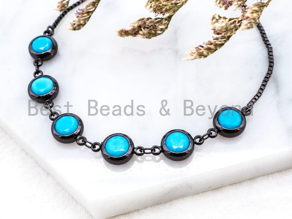 Sliding Adjustable Chain Bracelet, Evil Eye Bracelet, 8mm Turquoise Beaded Bracelet, Thin Link Bracelet, Silver Gold Bracelet, SKU#A48