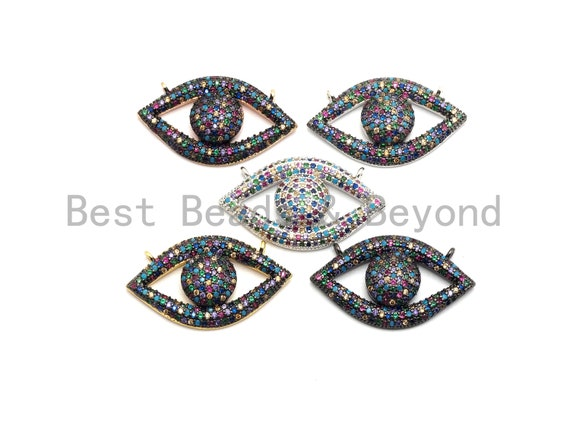 PRE-SELLING Rainbow CZ Micro Pave Eye Pendant, Gold/Silver/Black/Rose Gold, Cubic Zirconia Jewelry Findings, 16x28mm,sku#F676