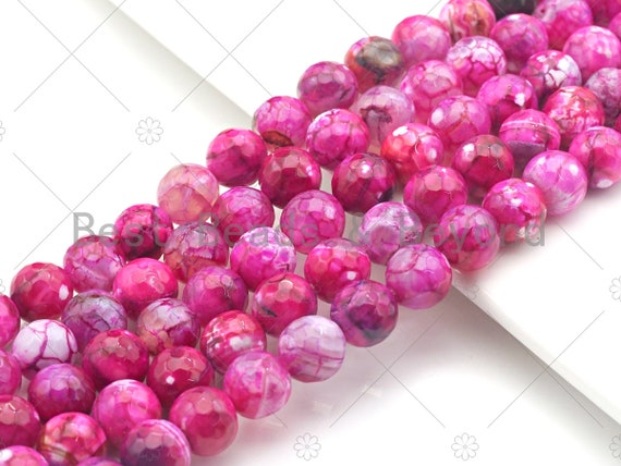 """Hot Pink Fire Agate, Round Faceted/Smooth 6mm/8mm/10mm/12mm, Natural Agate Beads, 15.5""""Full Strand, sku#UA115"""