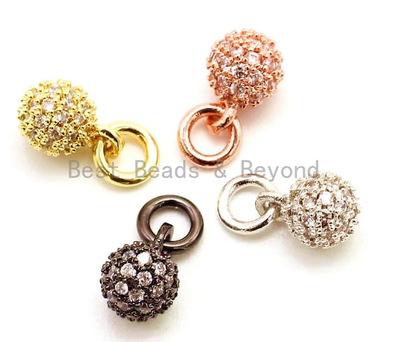 CZ Micro Pave Ball Dangle Charm for Bracelet/Necklace, Pendant Cubic Zirconia Ball Charm, Extension Chain Dangle, 6mm/8mm/10mm, sku#G95