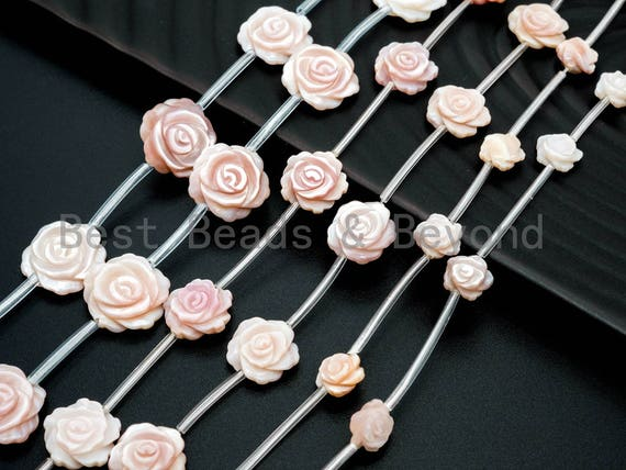 1/15pcs Natural Mother of Pearl beads, 8mm 12mm 15mm Carved Pink Rose Pearl Beads, Pink Pearl Shell Beads, SKU#T99