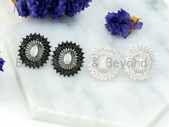 CZ Micro Pave Black and White Oval Earring studs, CZ Pave Earrings, Cubic Zirconia Earrings,18x20mm,1pair, sku#O54