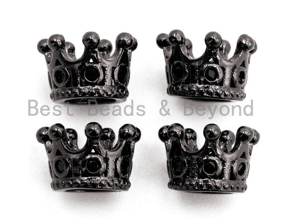 Black CZ Pave On Black Micro Pave Big Hole Crown Spacer Beads for Men's Bracelet, Cubic Zirconia Crown Cap Beads,10x7mm, sku#G320