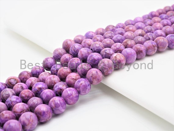 Smooth Round Africa Turquoise beads, 6mm/8mm/10mm/12mm Purple Gemstone beads, Africa Turquoise beads, 15.5inch strand, SKU#U266