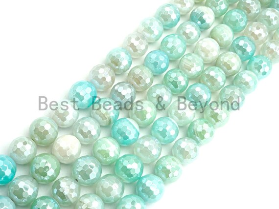 "Etsy Exclusive Mystic Plated Faceted Agate Beads,6mm/8mm/10mm/12mm, Ice Blue White Agate Beads,15.5"" Full Strand, SKU#U443"