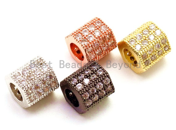 CZ Big Hole Six-sided/Hexagonal Tube Clear Micro Pave Beads, Cubic Zirconia Beads, 7x7mm, Sku#G152