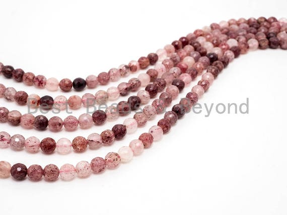 Quality Natural strawberry quartz  beads, 6mm/8mm/10mm, Faceted Round Pink Brown Gemstone Beads, 15.5inch strand, SKU#U137