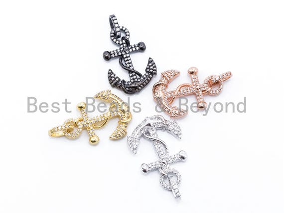 CZ Clear Micro Pave 37x21mm Anchor Pendant, Cubic Zirconia Pave Pendant/Charm in Gold/Gunmetal/Silver Finish, Men's Jewelry Finding, sku#F99