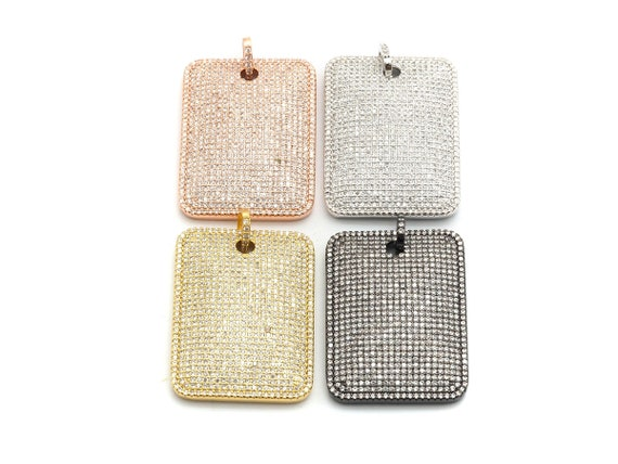 CZ Clear Micro Pave Large Rectangle Pendant, Rectangle Pave Pendant, Gold/Rose Gold/Silver/Gunmetal plated, 29x39mm, Sku#F666