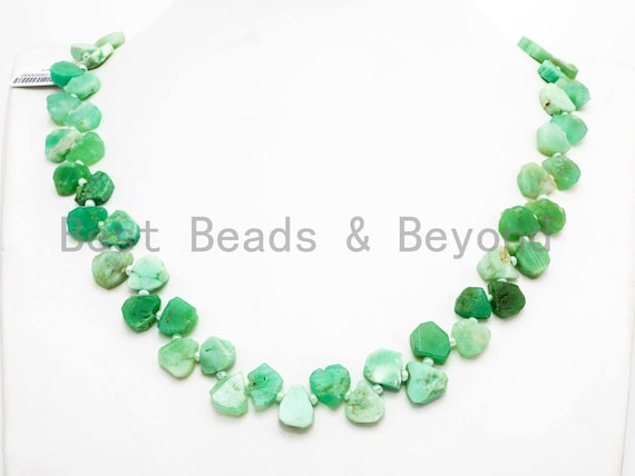"Quality Natural Chrysoprase beads, 9-13mm, Irregular Teardrop shape Top drill Chrysoprase Green Gemstone Beads, 15.5"" strand, SKU#U153"