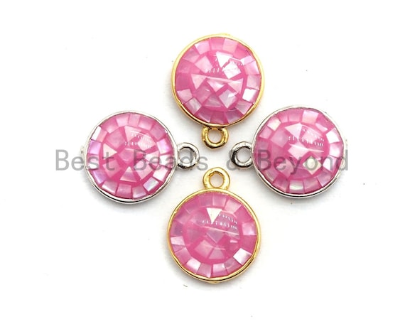 100% Natural PINK Color Shell Round Charm Pendant, Gold Silver Pink Charm, Natural Pink Shell Charm, 10x12mm,SKU#fZ321