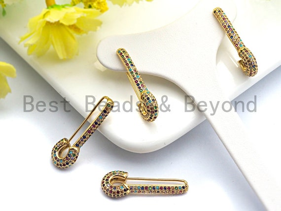 Colorful CZ Micro Pave Rainbow Safety Pin Earring, Gold earrings, Fish hook Earrings,4x30mm,sku#J123